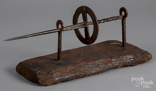 """Wrought iron spit on wooden stand, 18th c., 19"""" l"""