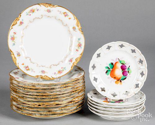 Twelve J. Pouyat Limoges porcelain plates, etc.