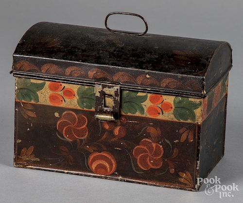 Toleware dome lid box, 19th c.