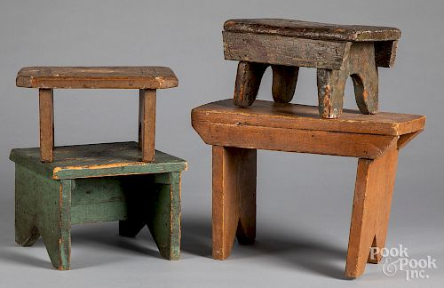 Four painted footstools, late 19th/early 20th c.
