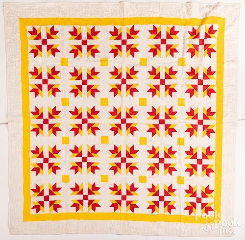 """Carolina lily quilt, ca. 1900, 81"""" x 83""""."""
