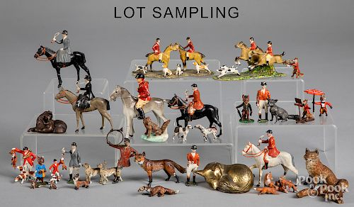 Collection of painted fox hunting figures