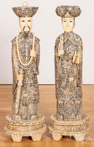 """Pair of large Chinese ivory veneer figures, 33"""" h"""