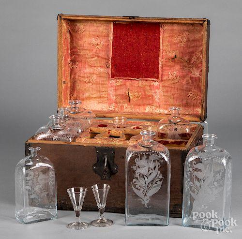 Oak bottle case, 19th c.