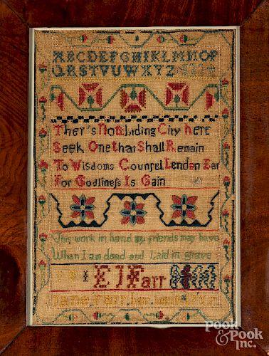 Silk on linen sampler, dated 1797