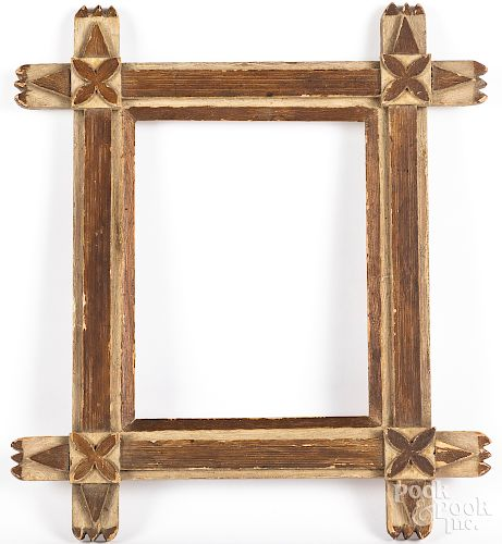 Carved and painted folk art frame, late 19th c.