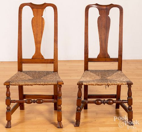 Pair of Queen Anne rush seat dining chairs