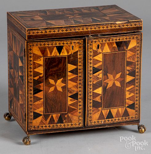 Continental parquetry jewelry box, etc.