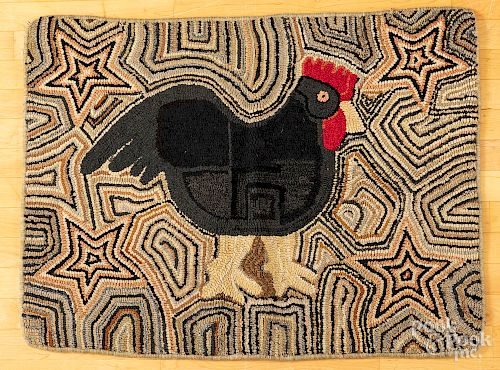 American hooked rug with rooster, early 20th c.