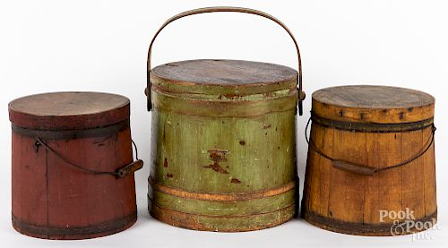 Three painted firkins, late 19th c.