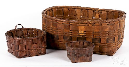 Three Native American painted baskets, ca. 1900