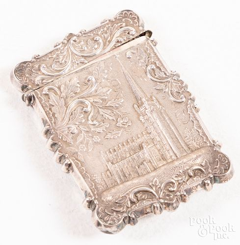 Silver high relief card case, 19th c.
