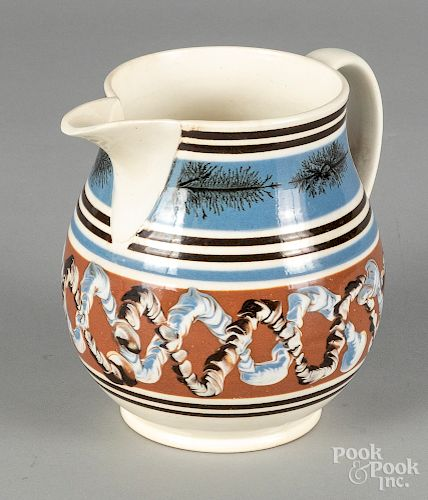 Mocha pitcher, 19th c., with earthworm decoration