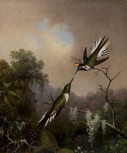 IMPORTANT M.J. HEADE HUMMINGBIRD PAINTING