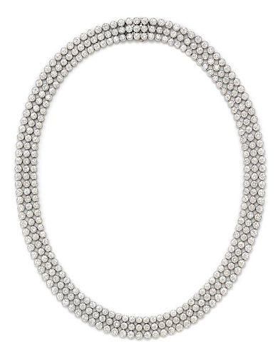 A Platinum and Diamond Necklace, Harry Winston, 92.80 dwts.