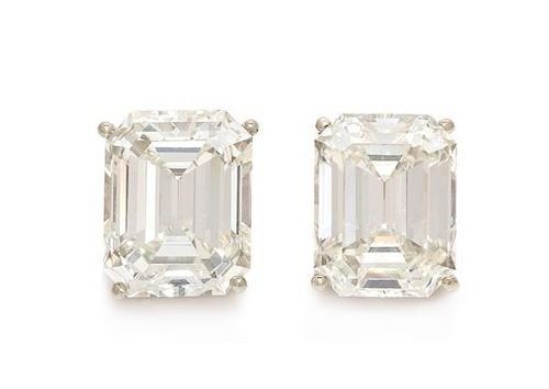 A Pair of White Gold and Diamond Stud Earrings, 3.80 dwts.