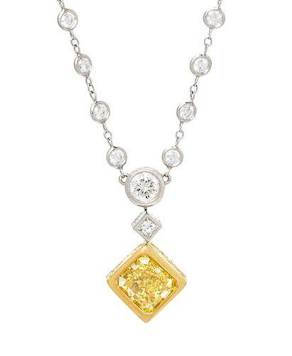 A Platinum, 18 Karat Yellow Gold, Fancy Vivid Yellow Diamond and Diamond Necklace, Michael Beaudry, 9.25 dwts.