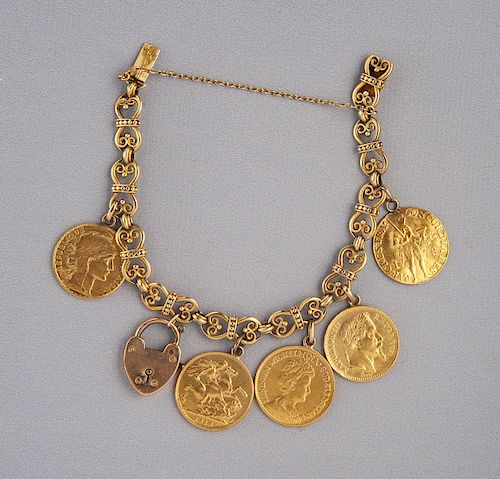 22K Gold Coin Bracelet