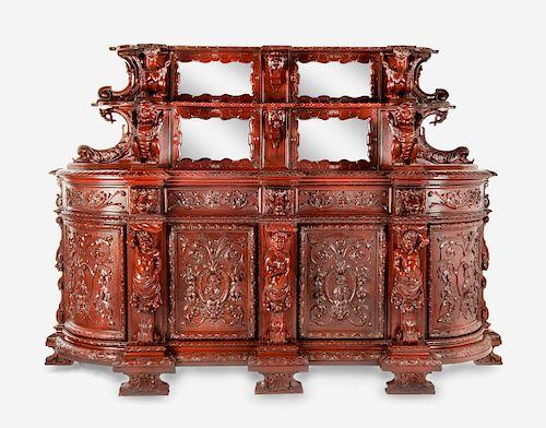 Elaborately Carved Baroque Revival Sideboard