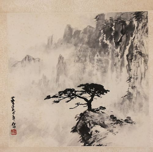 b88b8e726a3e2 E. Asian Chinese Japanese Oriental Scroll Painting by Hill Auction ...
