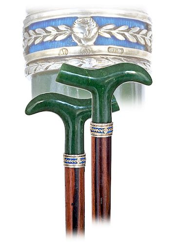 21. Fabergé Nephrite and Silver Enamel Cane -Ca. 1900 -The modified Derby shaped Nephrite handle shows beautiful proportions and an elegantly arched h