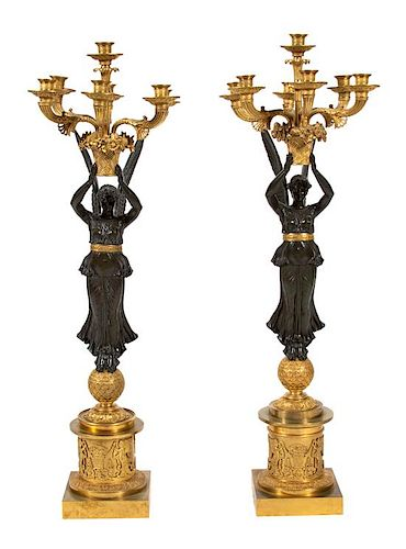 A Pair of Large Empire Gilt and Patinated Bronze Candelabra Height 36 1/2 inches.