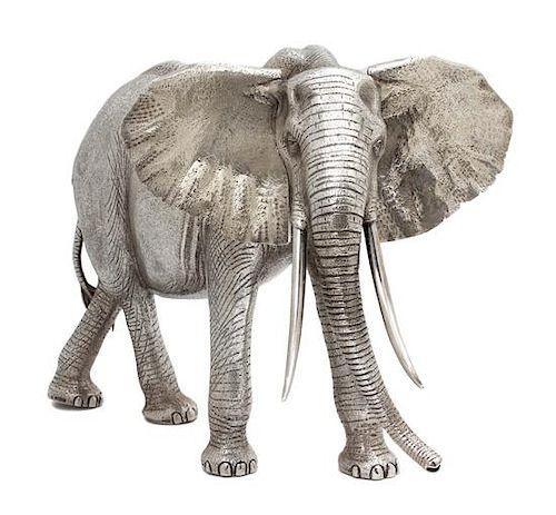 An English Silver Model of an African Elephant, Asprey & Garrard, London, 1978,