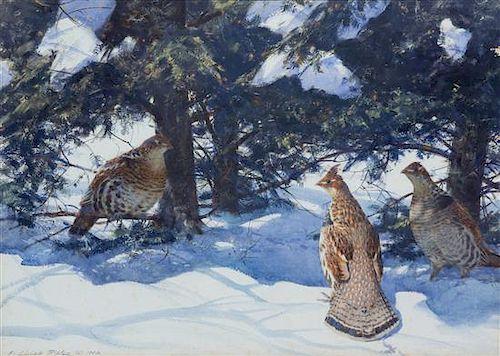Aiden Lassell Ripley, (American, 1896-1969), Partridges in Snow