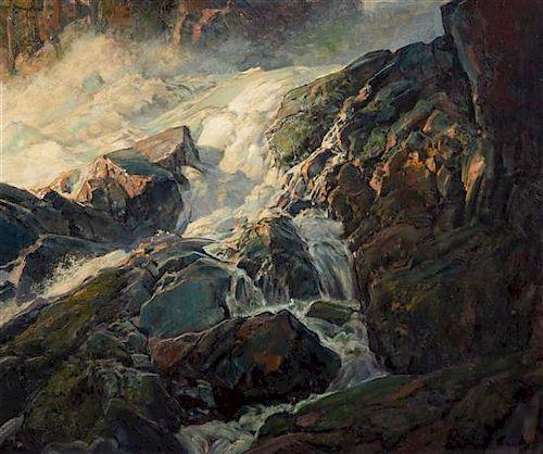 Frederick Judd Waugh, (American, 1861-1940), Rapids Over Waterfall