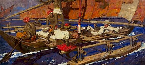 Dean Cornwell, (American, 1892-1960), Untitled, Explorer with Natives