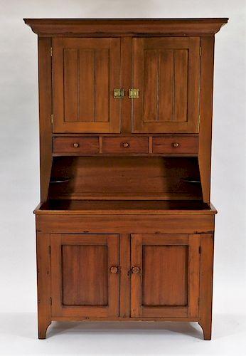 19C. Cherry Dry Sink Step Back Pantry Cupboard