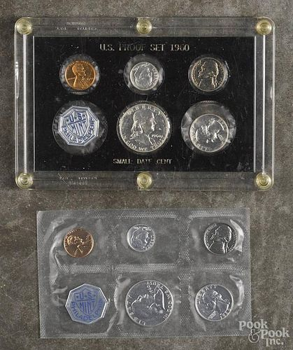 Two United States proof sets, 1960, small date.