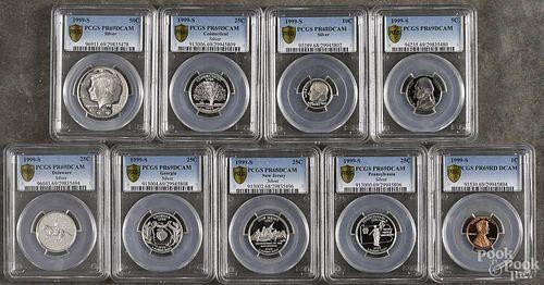 Silver United States proof set, 1999, PCGS PR-69RD DCAM, (dime PCGS PR-68).