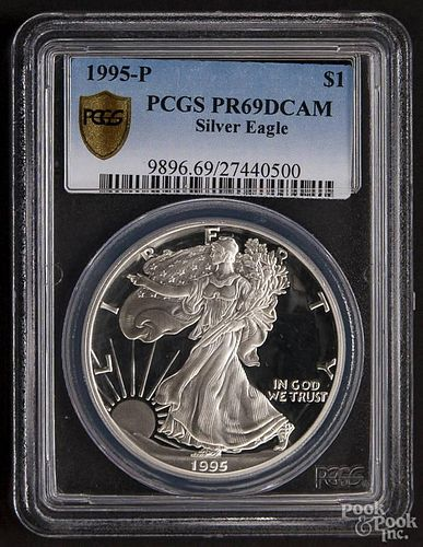 Silver American Eagle dollar, 1995-P, PCGS PR-69 DCAM.