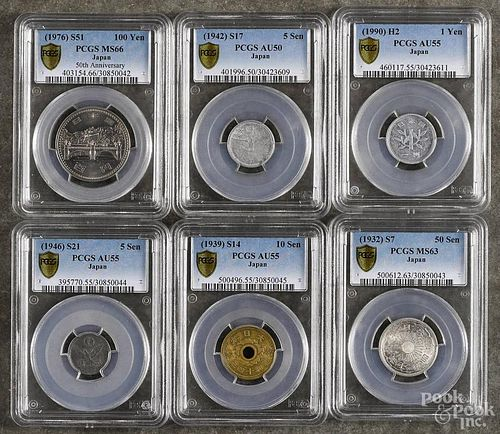 Six assorted Japanese coins, to include a 50 Sen, 1932, PCGS MS-63, a 1 Yen, 1900, PCGS AU-55, a 10