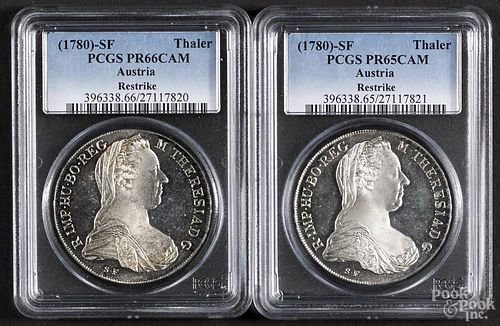 Two Austrian silver Thaler restrikes, to include a 1780-SF, PCGS PR-65 CAM, and a 1780-SF