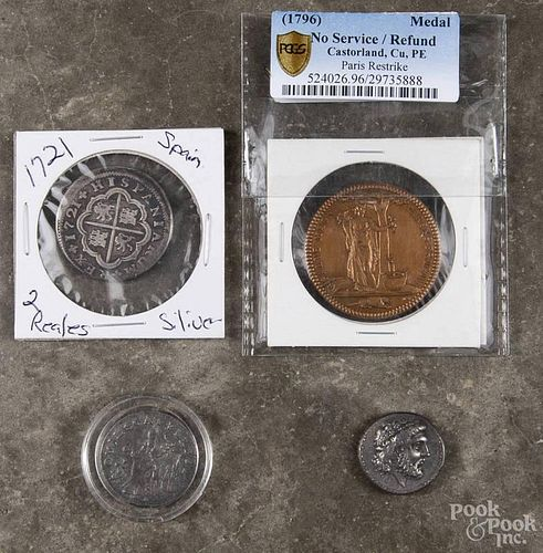 Group of miscellaneous foreign coins and medals, to include a 1796 Castorland Medal, Cu, Pe Paris Re