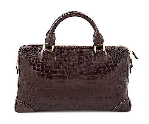 "A Lambertson Truex for Tiffany & Co. Brown Crocodile Handbag, 13"" x 9"" x 5.5""; Handle drop: 3""."