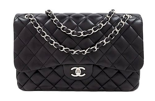 A Chanel Black Quilted Lambskin Jumbo Double Flap Bag 9db36a70b1439