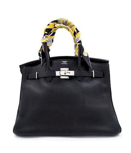 """An Hermès Black Clemence 35cm Birkin, 9.75"""" H x 13.75"""" W x 7"""" D; Handle drop: 5""""."""