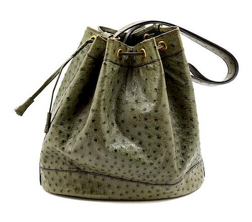 bb699fa01 An Hermès Green Ostrich Vintage Bucket Bag, 11