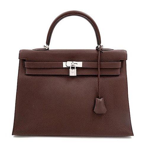 "An Hermès Brown Togo 36cm Kelly, 10"" H x 14"" W x 5"" D; Handle drop: 3.5""."