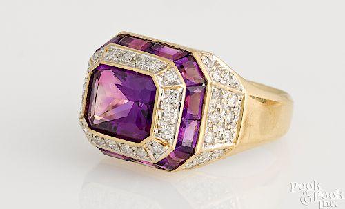 14K gold diamond and amethyst ring