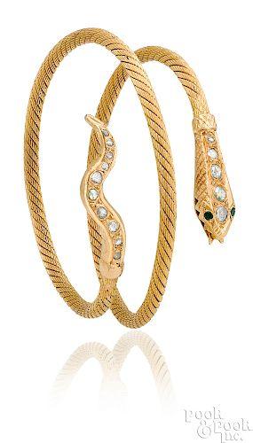 18K yellow gold snake bracelet