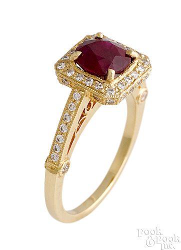 18K yellow gold Burmese ruby and diamond ring