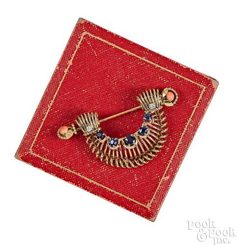 18K gold Cartier sapphire and diamond brooch