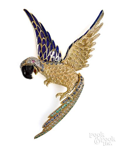 18K yellow gold emerald, diamond and sapphire pin