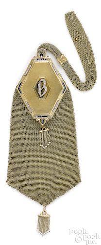 14K gold Edwardian diamond and sapphire purse