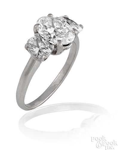 Platinum three-stone diamond ring