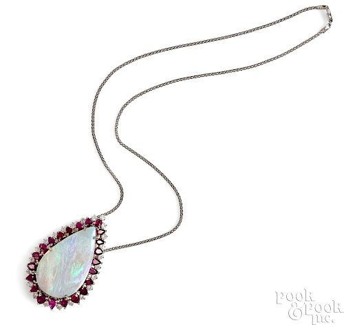 14K white gold opal, ruby and diamond necklace
